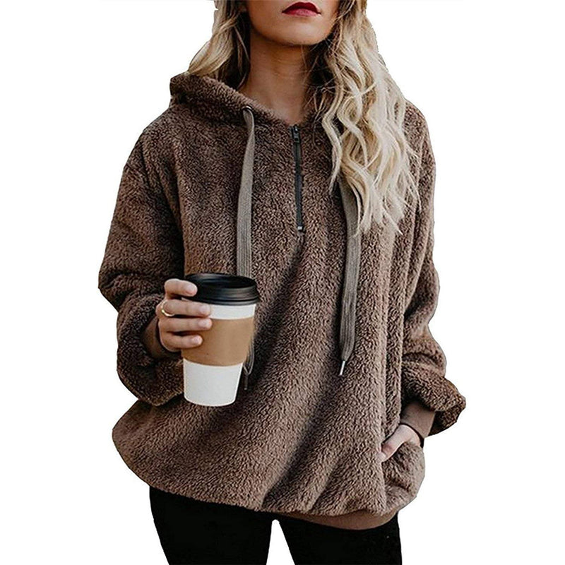 Women's Oversized Fleece Hoodie Women's Clothing Brown S - DailySale