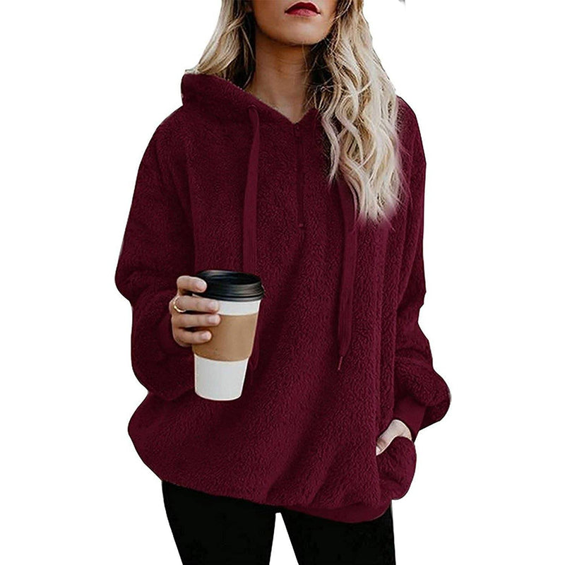 Women's Oversized Fleece Hoodie Women's Clothing Burgundy S - DailySale