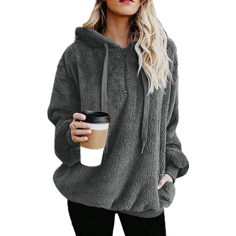 Women's Oversized Fleece Hoodie Women's Clothing Dark Gray S - DailySale