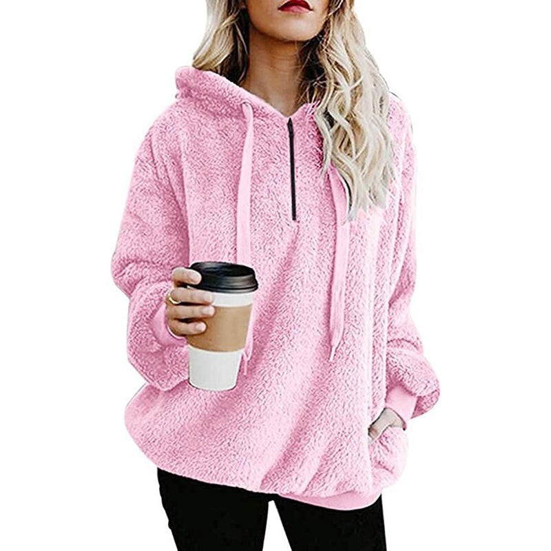 Women's Oversized Fleece Hoodie Women's Clothing Pink S - DailySale