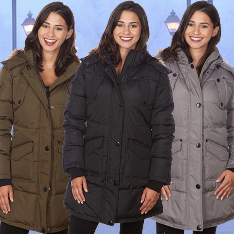 Women's Puffy Coat with Large Pockets and Faux Fur Hood Women's Apparel - DailySale
