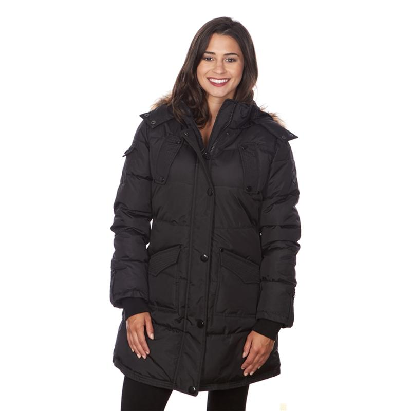Women's Puffy Coat with Large Pockets and Faux Fur Hood Women's Apparel S Black - DailySale