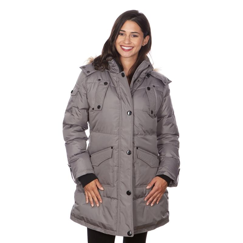Women's Puffy Coat with Large Pockets and Faux Fur Hood Women's Apparel S Gray - DailySale