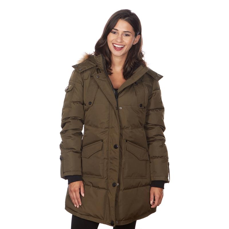 Women's Puffy Coat with Large Pockets and Faux Fur Hood Women's Apparel S Olive - DailySale