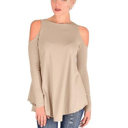 Women's Ribbed Cold-Shoulder Long-Sleeve Top - Assorted Sizes and Colors Women's Apparel M Coco - DailySale