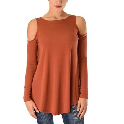 Women's Ribbed Cold-Shoulder Long-Sleeve Top - Assorted Sizes and Colors Women's Apparel M Rust - DailySale