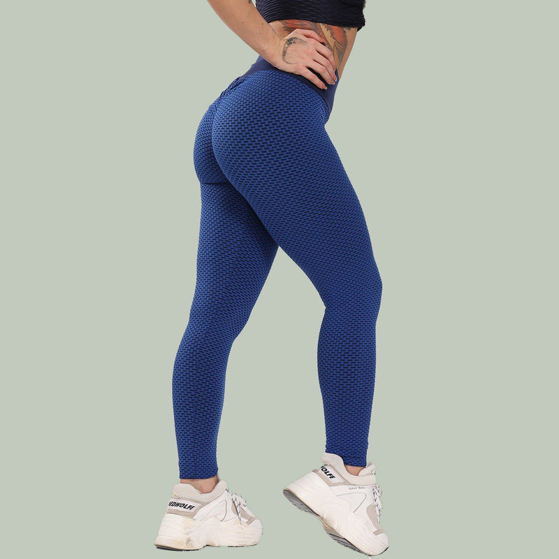 Women's Ruched High-Waist Butt Lifting Leggings Women's Clothing Blue S - DailySale