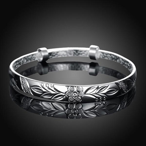 Women's Silver Plated Floral Ingrain Design Bangle Jewelry - DailySale