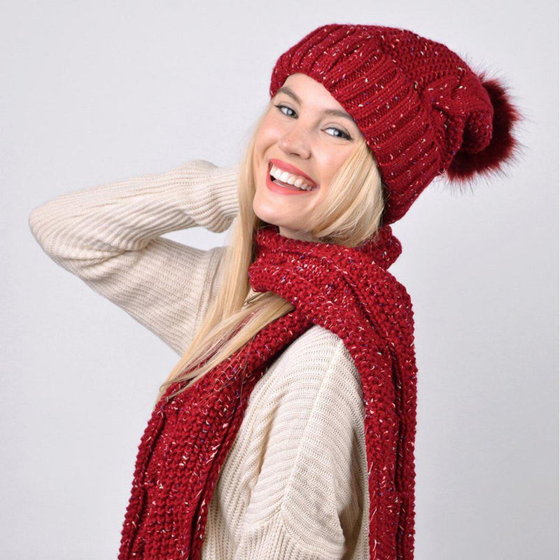 Women's Speckled Knit Hat and Infinity Scarf Set Women's Accessories - DailySale
