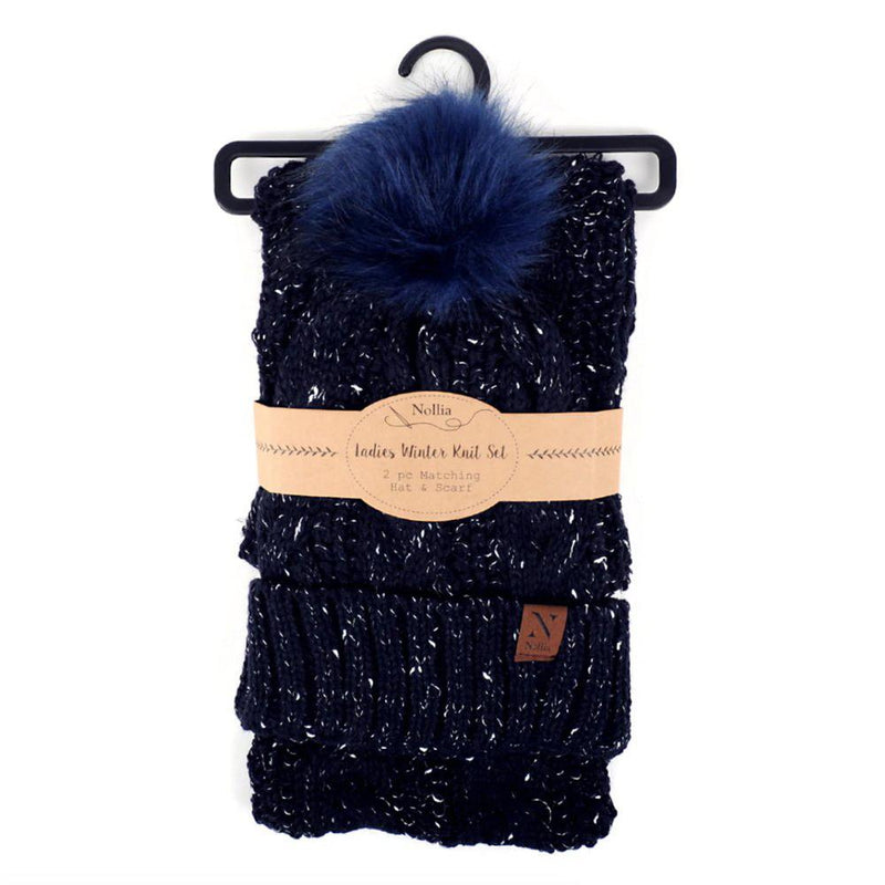 Women's Speckled Knit Hat and Infinity Scarf Set Women's Accessories Navy - DailySale