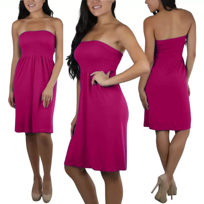 Women's Summer Tube Top Strapless Mini Dress Women's Clothing Fuchsia - DailySale