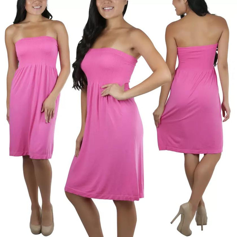Women's Summer Tube Top Strapless Mini Dress Women's Clothing Pink - DailySale