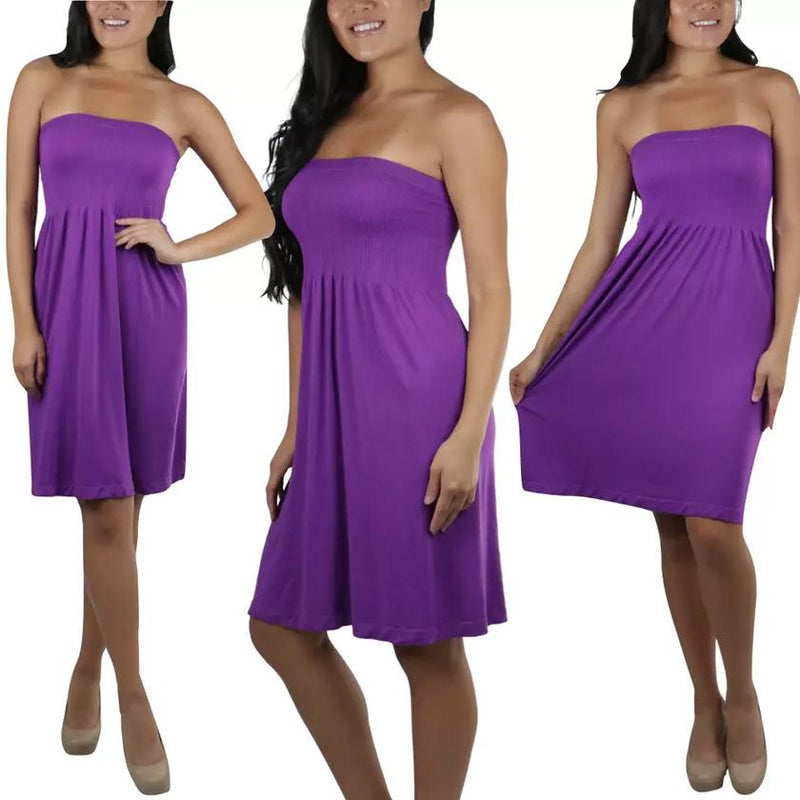 Women's Summer Tube Top Strapless Mini Dress Women's Clothing Purple - DailySale