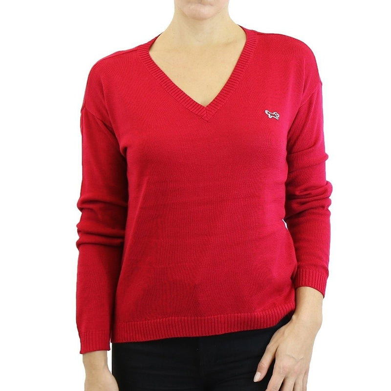 Womens V Neck Long Sleeve Sweater - Assorted Colors & Sizes Women's Apparel S Red - DailySale
