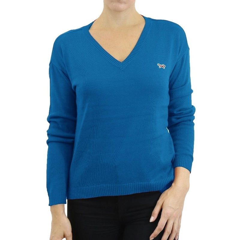 Womens V Neck Long Sleeve Sweater - Assorted Colors & Sizes Women's Apparel XL Blue - DailySale