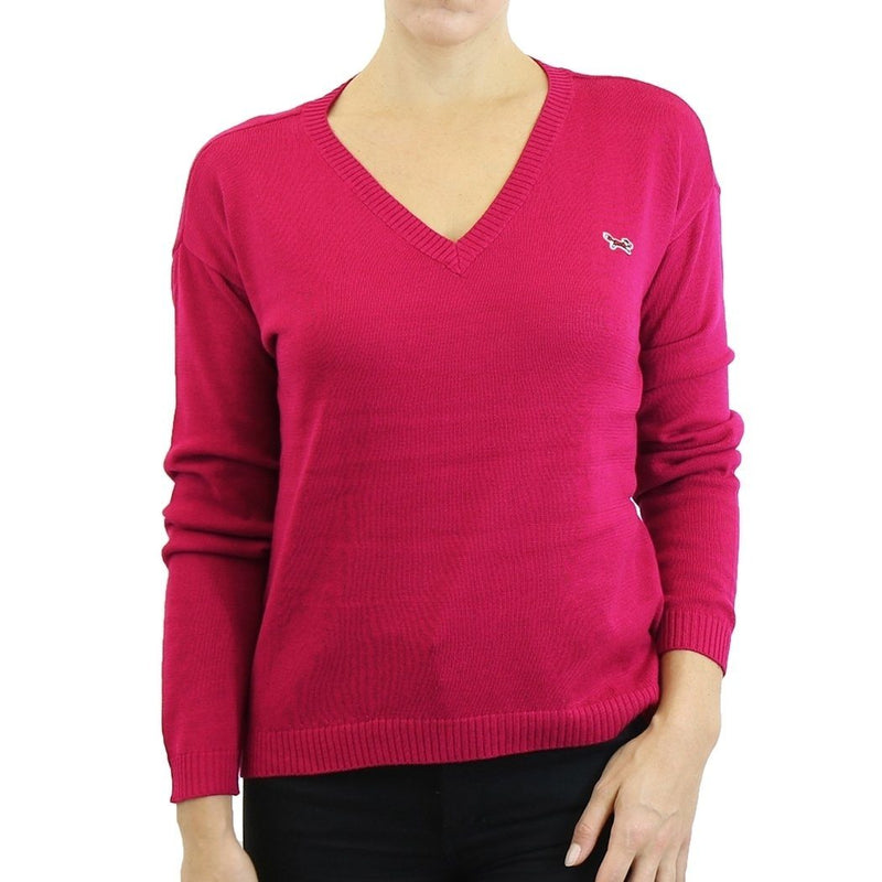 Womens V Neck Long Sleeve Sweater - Assorted Colors & Sizes Women's Apparel XL Raspberry - DailySale