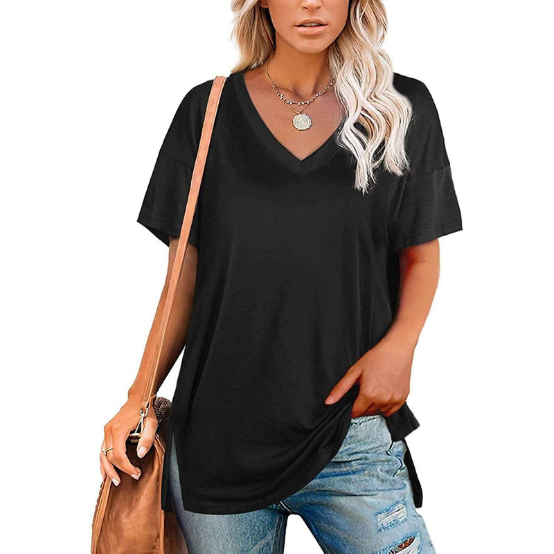 Women's V Neck T Shirts Basic Short Sleeve Tees Tops Women's Clothing Black S - DailySale
