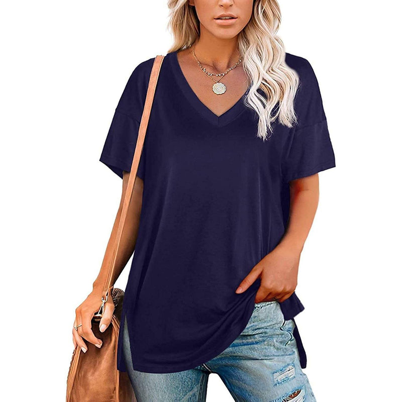 Women's V Neck T Shirts Basic Short Sleeve Tees Tops Women's Clothing Blue S - DailySale