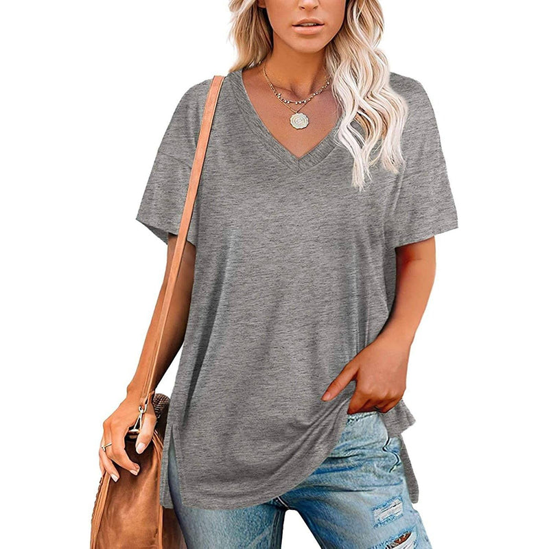 Women's V Neck T Shirts Basic Short Sleeve Tees Tops Women's Clothing Gray S - DailySale