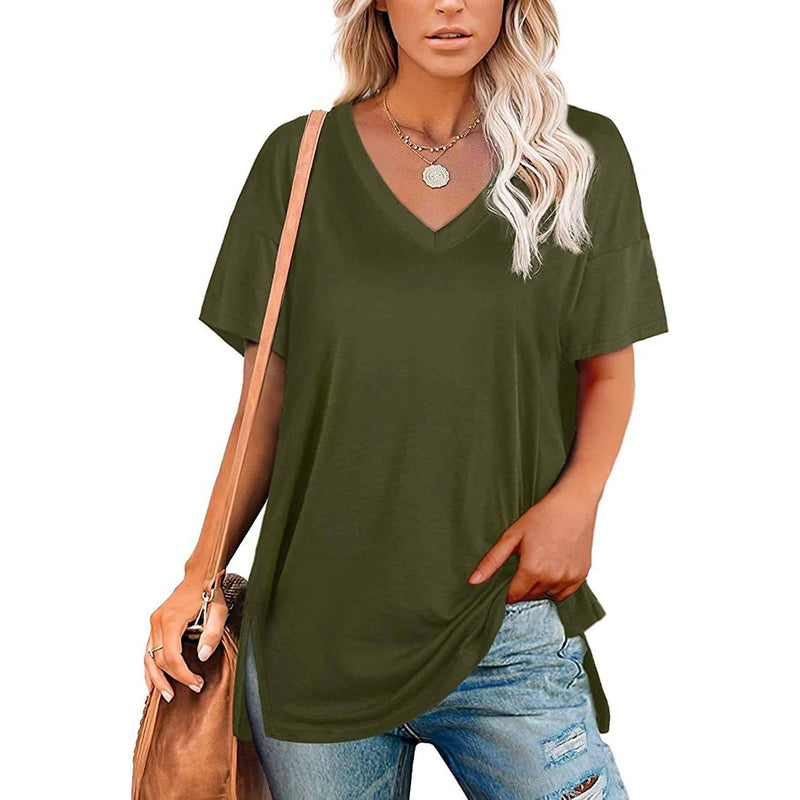 Women's V Neck T Shirts Basic Short Sleeve Tees Tops Women's Clothing Green S - DailySale
