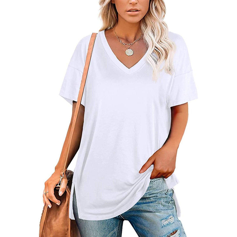 Women's V Neck T Shirts Basic Short Sleeve Tees Tops Women's Clothing White S - DailySale