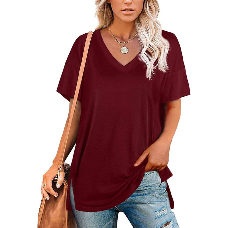 Women's V Neck T Shirts Basic Short Sleeve Tees Tops Women's Clothing Wine Red S - DailySale