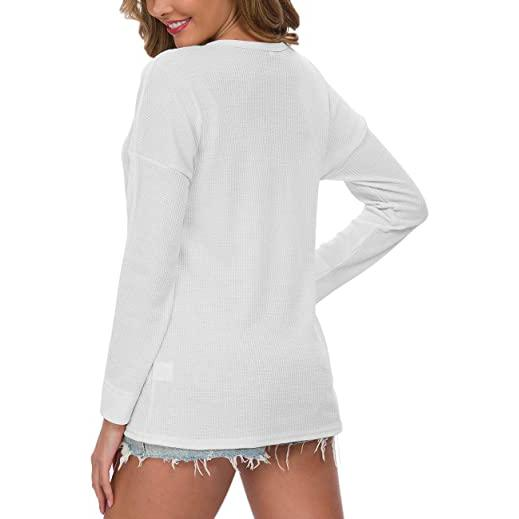 Women's Waffle Knit Tunic Tops Loose Long Sleeve