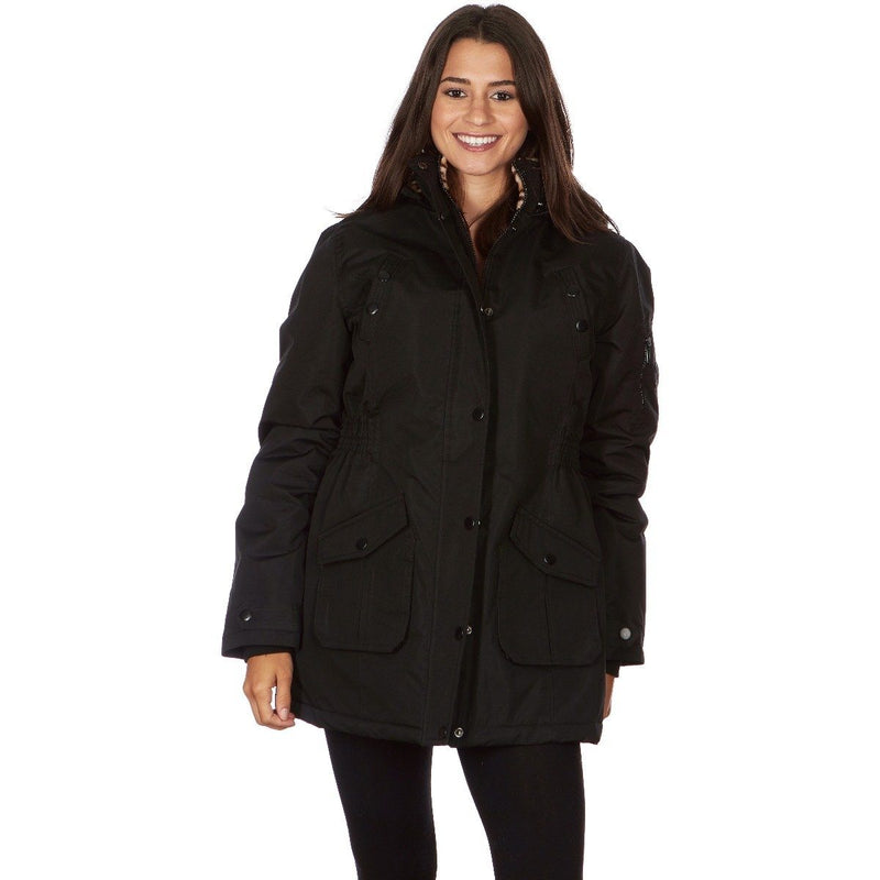 Yoki Women's Long Heavy Weight Coat with Leopard Sherpa Lining and Hood Women's Apparel S Black - DailySale