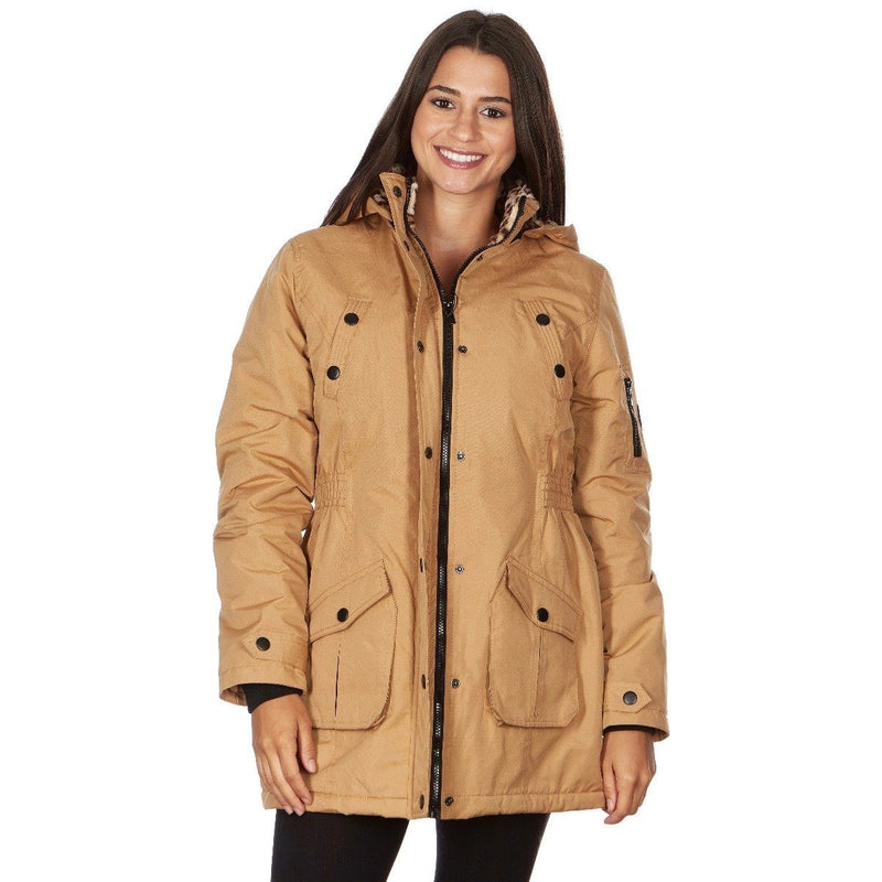 Yoki Women's Long Heavy Weight Coat with Leopard Sherpa Lining and Hood Women's Apparel S Camel - DailySale