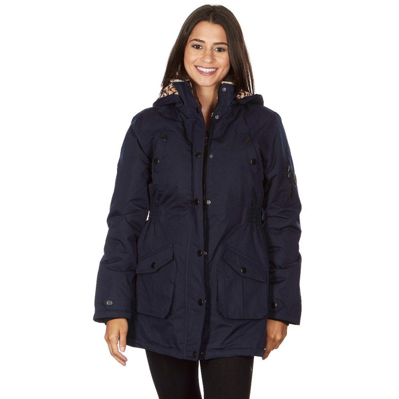 Yoki Women's Long Heavy Weight Coat with Leopard Sherpa Lining and Hood Women's Apparel S Navy - DailySale