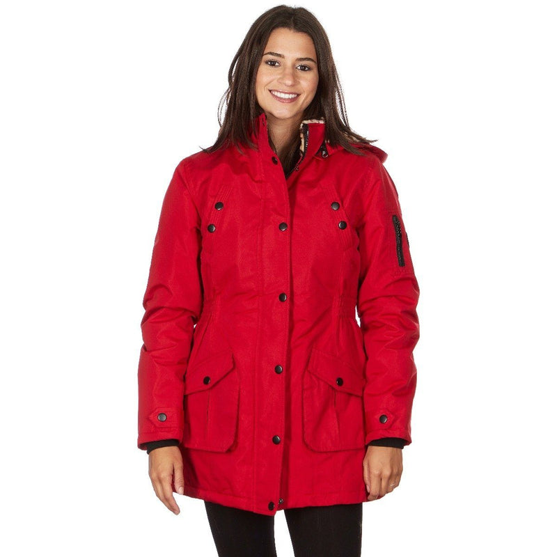 Yoki Women's Long Heavy Weight Coat with Leopard Sherpa Lining and Hood Women's Apparel S Red - DailySale