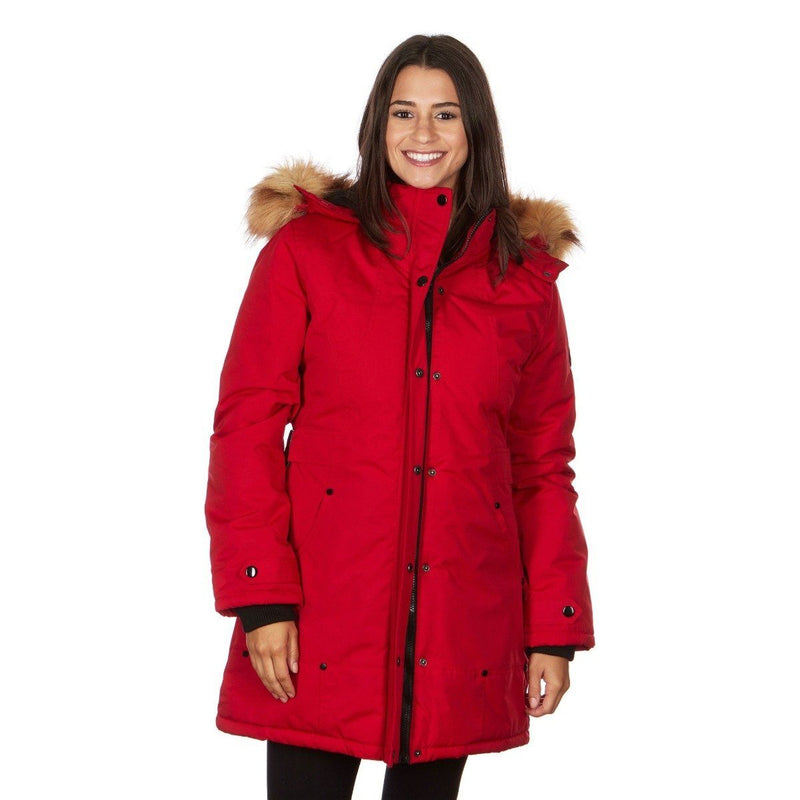 Yoki Women's Mid Length Hooded Puffy Coat Women's Apparel S Red - DailySale