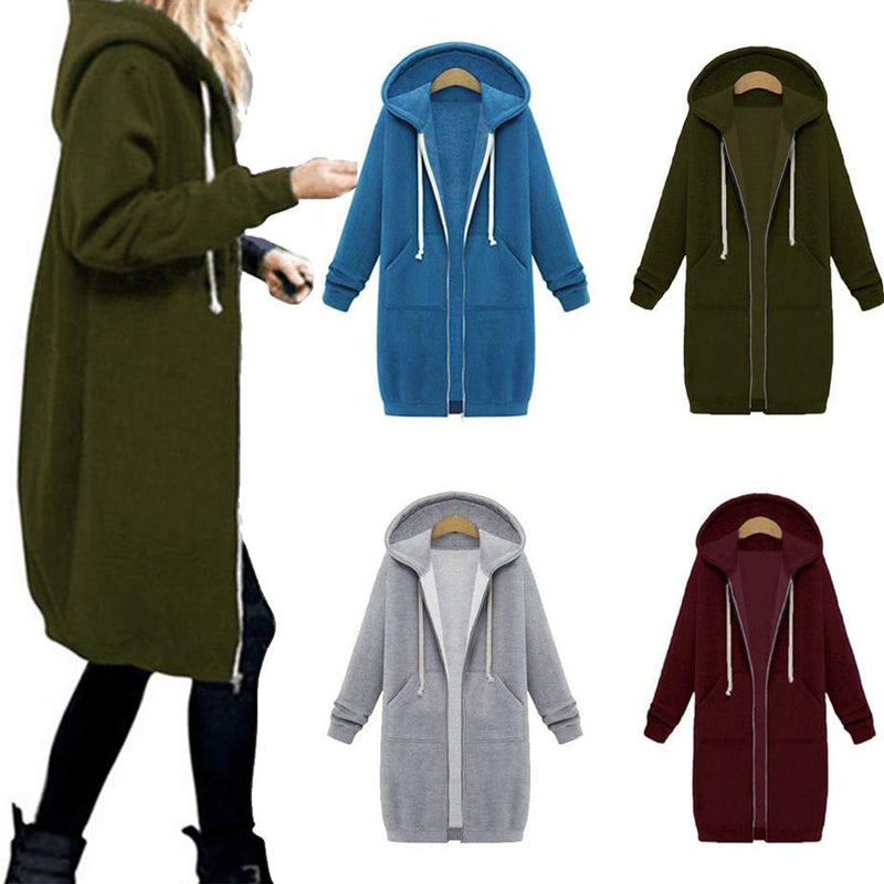 Zipper Front Pocket Drawstring Hoodie Women's Clothing - DailySale