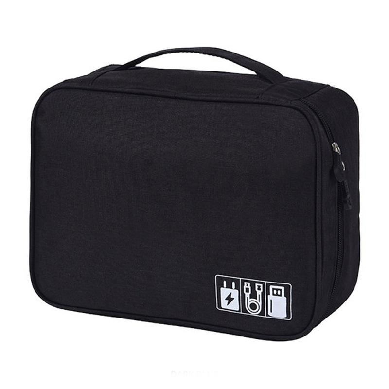 Zippered Cable Compartment Bag for Electronics Storage Gadgets & Accessories Black - DailySale