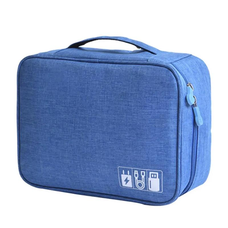 Zippered Cable Compartment Bag for Electronics Storage Gadgets & Accessories Blue - DailySale