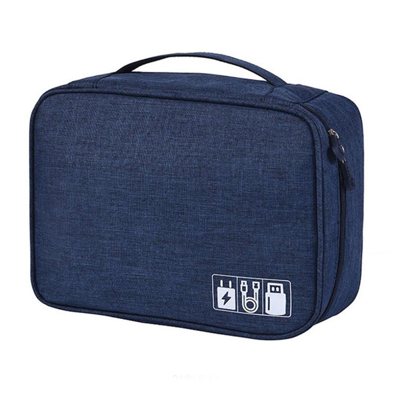 Zippered Cable Compartment Bag for Electronics Storage Gadgets & Accessories Dark Blue - DailySale