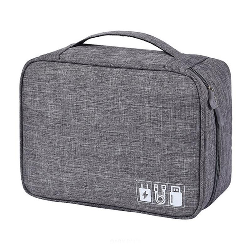 Zippered Cable Compartment Bag for Electronics Storage Gadgets & Accessories Gray - DailySale
