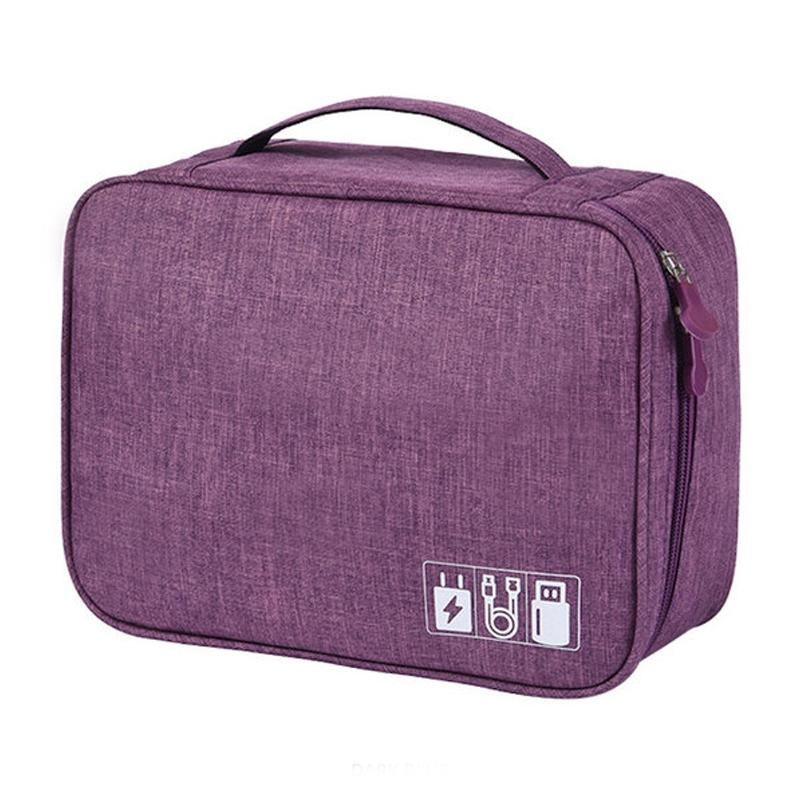 Zippered Cable Compartment Bag for Electronics Storage Gadgets & Accessories Purple - DailySale