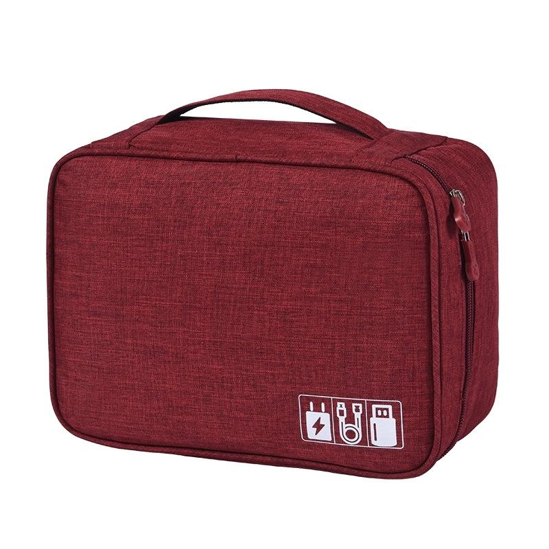 Zippered Cable Compartment Bag for Electronics Storage Gadgets & Accessories Wine - DailySale