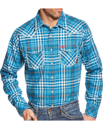 CLEARANCE MEN'S SIZE 2XL Ariat FR Basic Toledo Turquoise Plaid Work Shirt 10018131