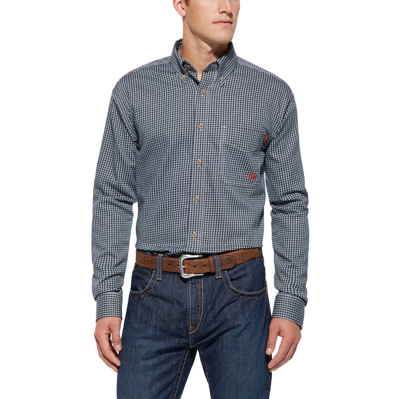 Ariat FR Blue Multi Plaid Work Shirt Size: MEDIUM