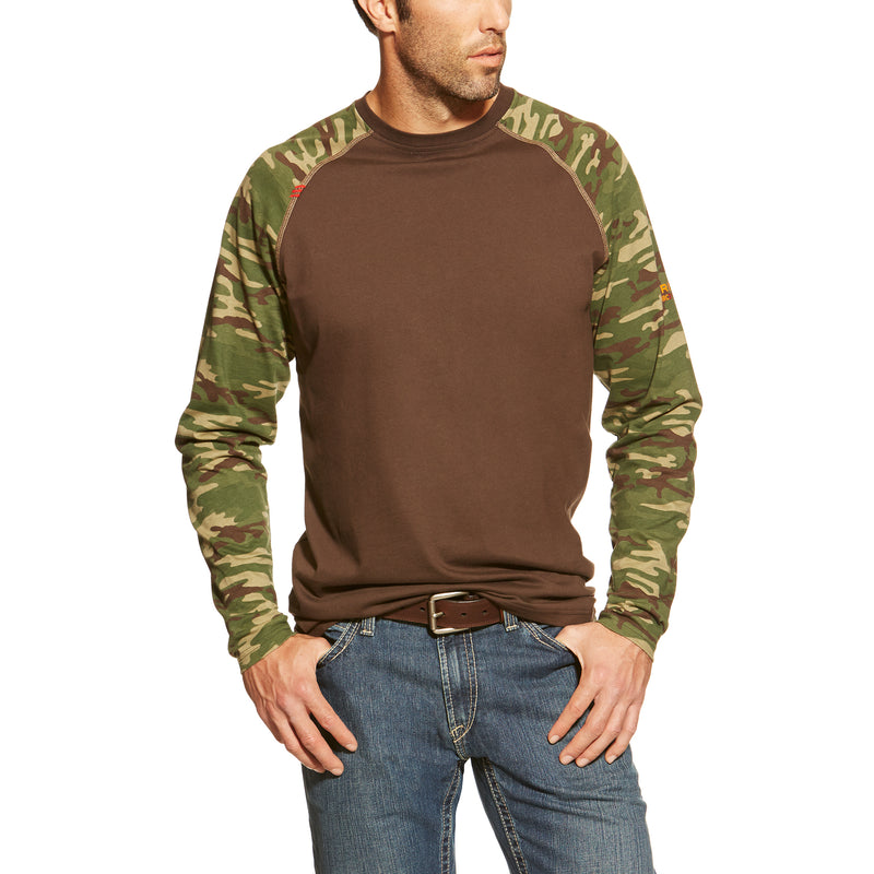 New Ariat FR Camo Baseball Tee