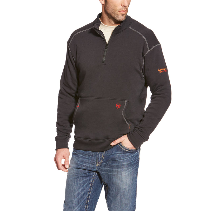 **CLEARANCE Ariat FR Black Polartec 1/4 Zip Fleece Jacket 10015949