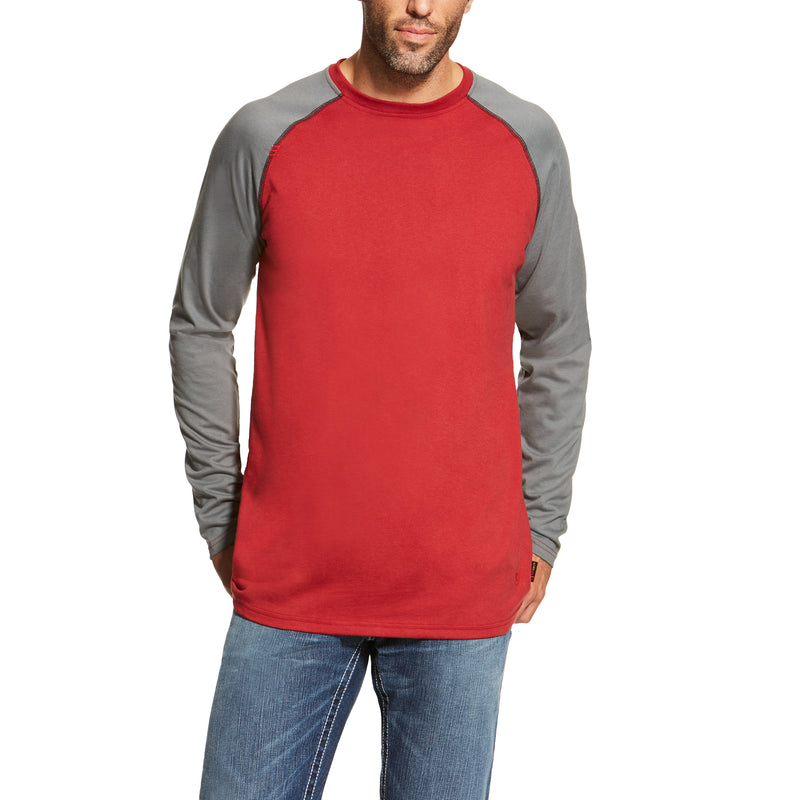 New Ariat FR Red and Gray Baseball Tee