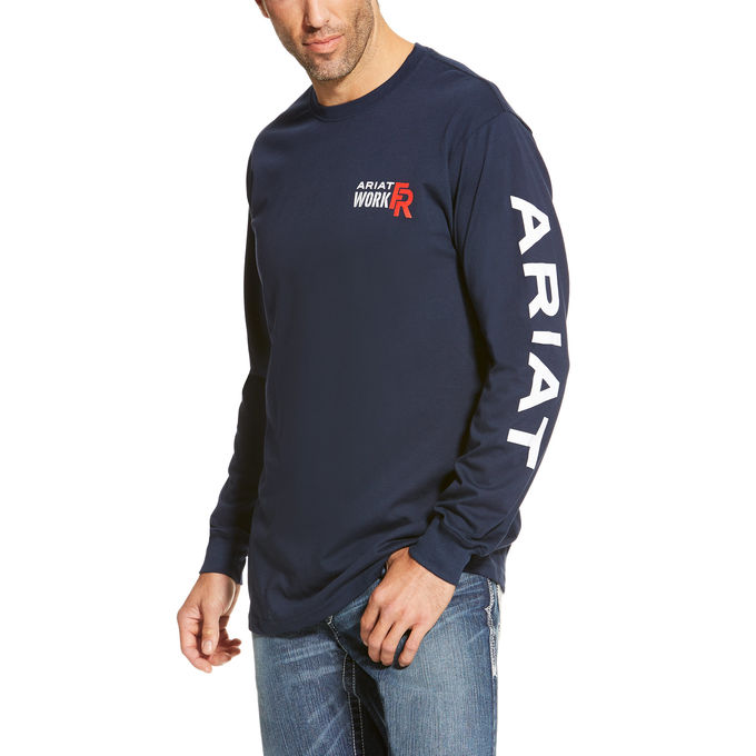 Ariat FR Work Crew Logo Shirt -Navy 10019053