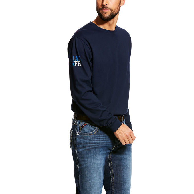 Ariat FR fire retardant Men's Navy Americana Henley shirts 10023951