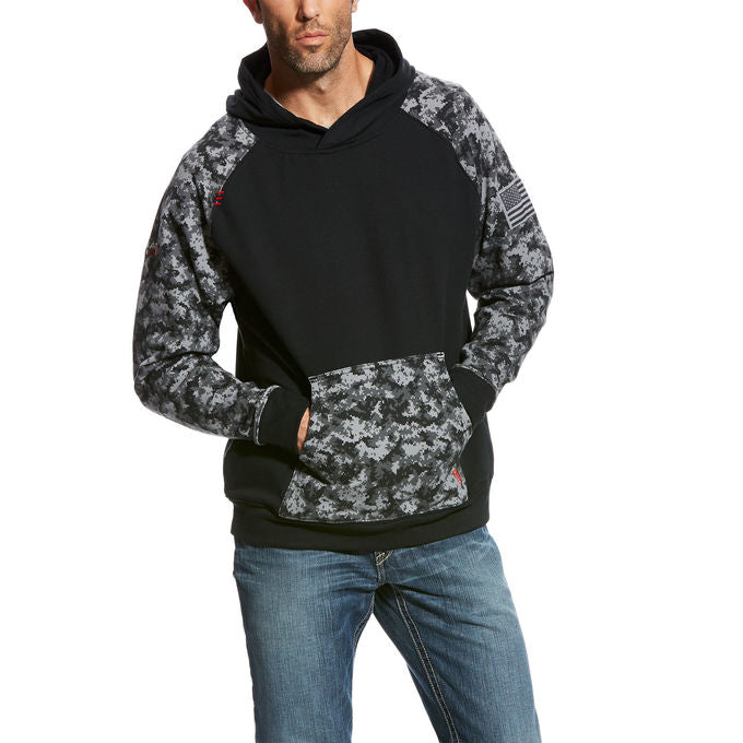 FR Ariat Patriot Fleece Hoodie Black/Grey Camo - Sage/Digi Camo 10023989, 10027911