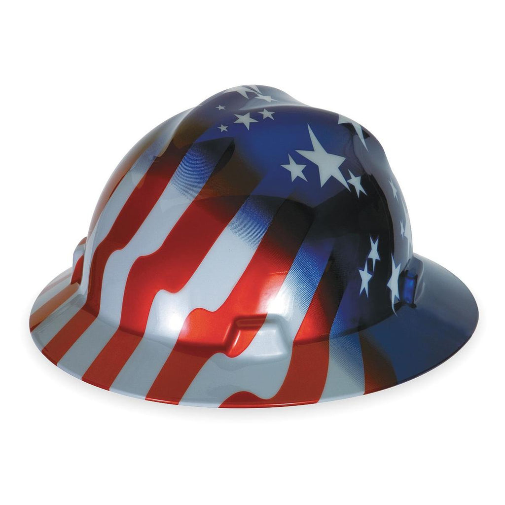 MSA Hard Hat With Fas Trac® 4 Point Ratchet Suspension And American Stars And Stripes Graphics