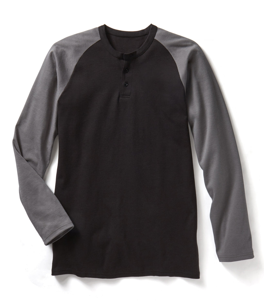 New Rasco FR Two Tone Henley T-shirts Grey and Black GBT464