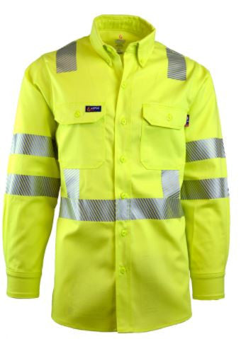 New Lapco FR 7 oz Hi-Viz Class 3 Uniform Shirt-100% Cotton